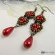Náušnice perlové delší červené