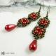 Náušnice perlové delší červené 2