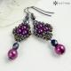 Náušnice malé perličkové purpurové 2