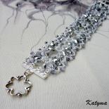 Náramek stříbrné svatební květy