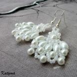 Náušnice bílé svatební květy
